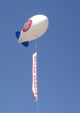 17ft helium advertising blimp with vertical banner